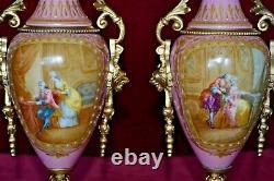 Antique Sevres Hand painted Porcelain & Gilt Metal Twin Handled Clock Garnitures