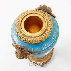 Antique Sevres Porcelain Urn Vase Blue Celeste Gold Gilt Hand Painted Cupid 12