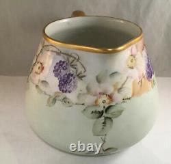 Antique T&v Limoges Porcelain Water Set Pitcher Tumblers Hand Painted Grapes