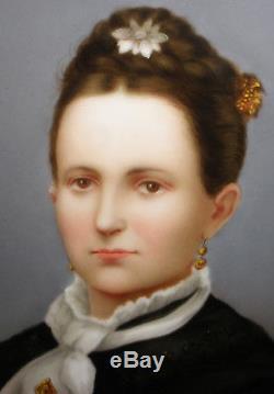 Antique Victorian American school women hand painted portrait porcelain 7 plate