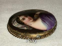 Antique Victorian Cameo Portrait Hand Painted Porcelain Gold Brooch Pin German