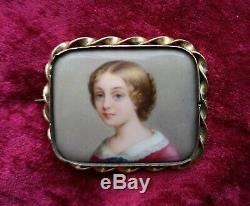Antique Victorian Hand Painted Cameo Porcelain Brooch Pin of Fine Beautiful Lady