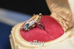 Antique Victorian Hand Painted Miniature Porcelain Pearl Gilt Brooch