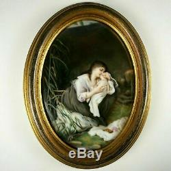 Antique Victorian Hand Painted Porcelain Portrait Plaque, Mother & Infant Baby