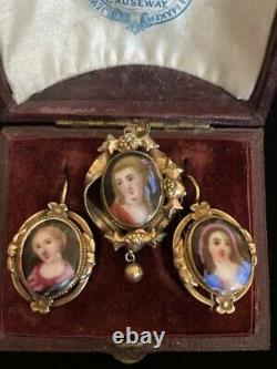 Antique/ Victorian Hand Painted Portrait earrings and pendant