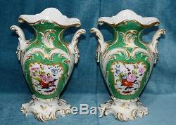 Antique Victorian Jacob Petit Hand painted Twin Handled Porcelain Vases Pair of