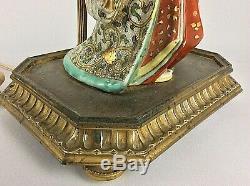 Antique Vintage Chinese Japanese Porcelain Figure Satsuma Table Lamp Ormolu Base