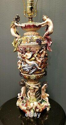 Antique Vintage Handpainted CAPODIMONTE Porcelain Large Lamp w Cherubs 30 Tall