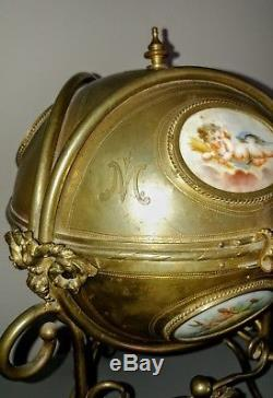 Antique Vintage hinged round ormolu Jewelry Casket with hand painted porcelain