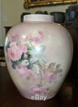 Antique Willets Belleek American Handpainted Porcelain Vase Signed Mills Rose