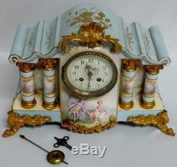 Antique c. 1880 Hand Painted Porcelain French Mantle Clock Signed by the Artist