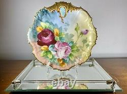 Antique c1890 B&H Limoges France Hand Painted Cabinet Plate Roses Heavy Gilt 9