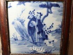 Antique early 1800's blue white Chinese hand made tile porcelain painting plaque
