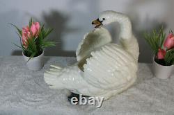 Antique french faience Swan bird planter jardiniere vase