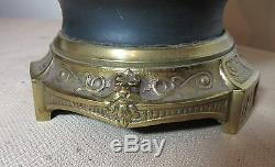 Antique hand painted Sevres porcelain brass vase floral electric table lamp