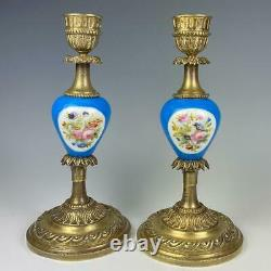 Antique to Vintage French Candlestick Pair, Old Paris Porcelain, Hand Painted