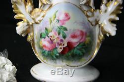 Antique vieux paris old porcelain Vase hand paint floral decor