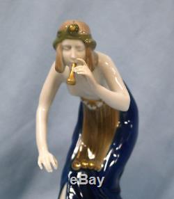 Art Nouveau Rosenthal Hand Painted Porcelain Figure of Snake Charmer