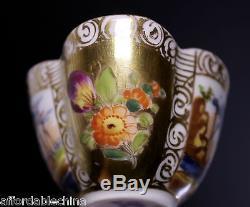 Augustus Rex Early Meissen Yellow Hand Painted Porcelain Quatrefoil Cup & Saucer