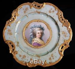 Austrian Marie Maria Antoinette Hand Painted Porcelain Portrait Plate Gold Roses