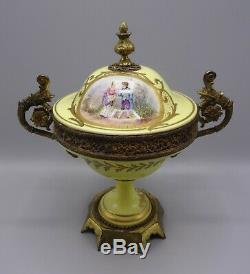 Beautiful 25 cm Sevres Ormolu Hand Painted Porcelain Lidded Pot
