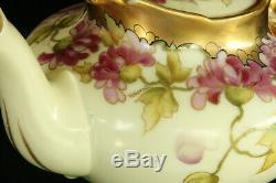 Beautiful Antique 100% Hand Painted Floral Pickard 5 Piece Porcelain Tea Set
