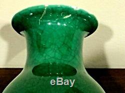 Beautiful Antique Chinese Hand Painted Emerald Green Cracked Porcelain Vase