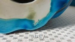Beautiful Pair of Vintage Blue Glazed Chinese Porcelain Cat Figurines Signed