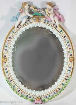 Beautiful Vintage Porcelain Cherub Mirror Hand Painted Floral after Meissen