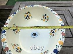 Beautiful (hand Painted By Artisan) Oval Wash Basin In Delicate Flower Design