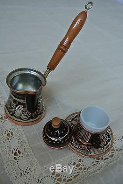 Big Turkish COFFEE Set HAND PAINTED Copper Mugs Cezve Tray Porcelain Cup SILVER