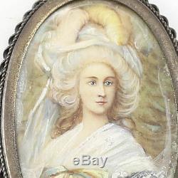 C. 1920 Continental Hand Painted Porcelain Miniature Portrait. 800 Silver Pendant