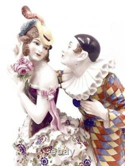 CAPODIMONTE HAND PAINTED ART DECO DRESDEN PIERROT w DANCER PORCELAIN FIGURINE