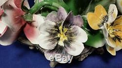 CAPODIMONTE Porcelain Flower Centerpiece Hand Painted Italy N Crown Mark