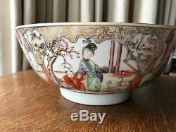 CHINESE PORCELAIN QIANLONG 18TH CENTURY FAMILLE ROSE PUNCH BOWL, 26x11cm