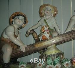 Capodimonte CHILDREN ON THE SEE-SAW Porcelain Figurine Made in Italy