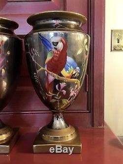 Chelsea House Handpainted Macaw Parrot 11 5/8 Porcelain Lusterware Urns (2)