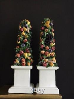 Chelsea House Pair of Stunning Hand Painted Porcelain Fruit Obliques