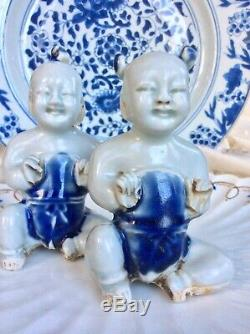 Chinese Antique 18th C Porcelain Rare Pair of Seated Boys Blue White Figures