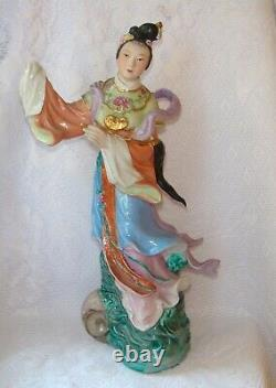Chinese Familie Rose Porcelain Statue Figurine Vintage 1950s China Lady Fairy