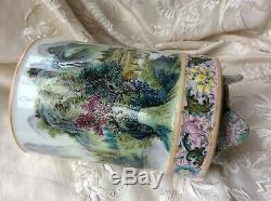 Chinese Porcelain Famille Rose Republic Landscape Brush Pot Yongzheng Seal Mark