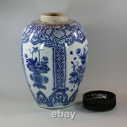 Chinese blue and white ovoid jar, Kangxi (1662 1722)