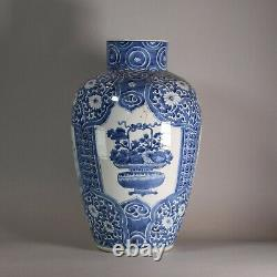 Chinese blue and white vase, Kangxi (1662-1722), decorated with three panels con