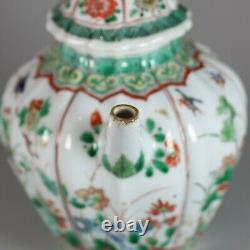 Chinese famille verte moulded teapot and cover, Kangxi (1662-1722)