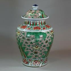 Chinese wucai transitional vase and cover, 17th century