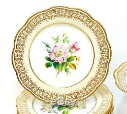Davenport England Hand Painted Porcelain Dessert Service for 6, circa 1875