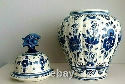 Delft XL Lidded Vase 17.7 Inches Ginger Jar Hand Painted