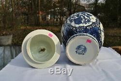 Delfts Blue Boch Royal Sphinx 18 Hand Painted Foo Dog Urn/Ginger Jar Vase Trio