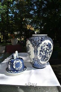 Delfts Blue Boch Royal Sphinx NL Hand Painted Foo Dog Urn/Ginger Jar Vase Trio