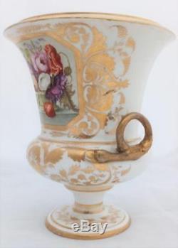 Derby Porcelain Campana Vase Hand Painted Floral Basket Patt 43 Georgian c 1820